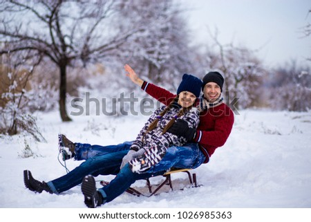 Lovely Couple Enjoy Sleigh Ride Lovely Stock Photo Edit Now