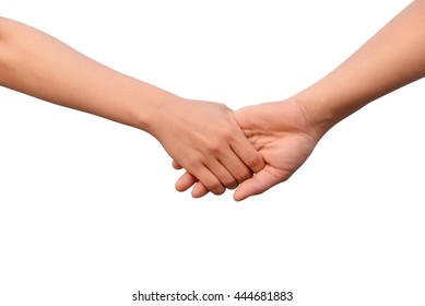 Lovely couple holding hands on white background. Concept about love and relationship.