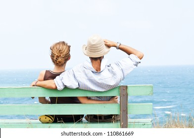 Lovely couple looking forward