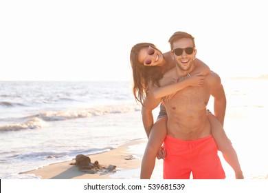 Lovely couple on tropical beach