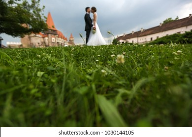 Lovely couple posing in front of old medieval castle with bouquet of flowers
