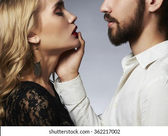 lovely couple in tenderness.Beautiful woman with the man.beauty girl and boy together.love touch on Saint Valentine's Day
