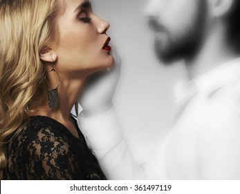 lovely couple in tenderness.Beautiful woman meeting with the spirit of man.beauty girl and boy together.ghost touch on Saint Valentine's Day