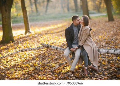 lovely couple wsitting in the park during autumn