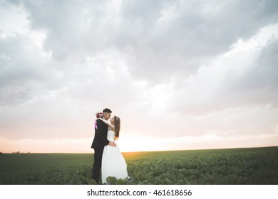 Lovely couple young bride and groom on sunset background. Beautiful sky