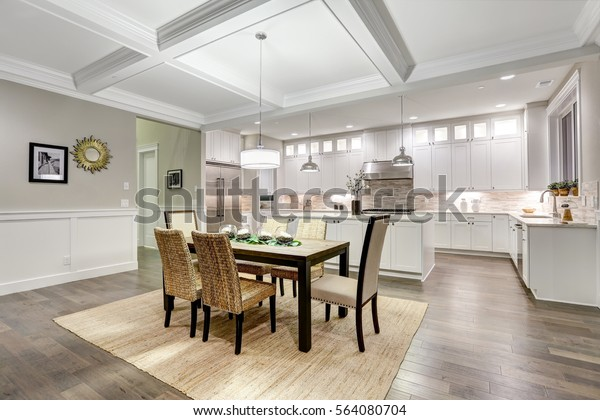 Lovely Craftsman Style Dining Kitchen Room Stock Photo (Edit ...