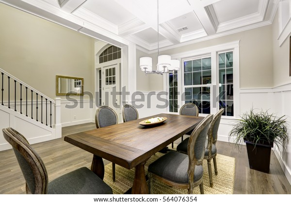 Lovely Craftsman Style Dining Room Coffered Stock Photo ...
