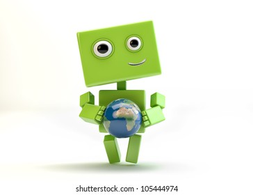 Lovely cyborg with Globe Ball/Green robot with globe