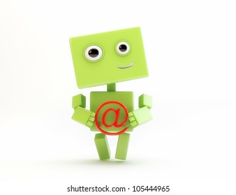 Lovely cyborg with Internet symbol/Green robot with at sign