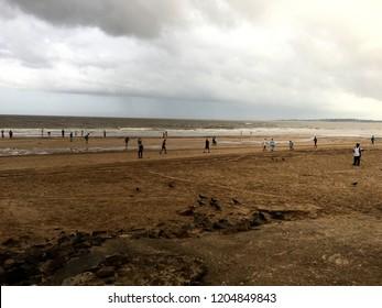 Lovely dramatic scene of Juhu Beach as on 2nd September 2018 in the morning in Mumbai, Maharashtra, India.