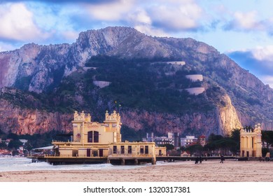 Lovely Evening at mediterranean Mondello, Sicily in Italy. South European Travel Landscape Picture.