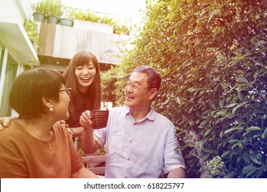 Lovely family spending time together in the yard