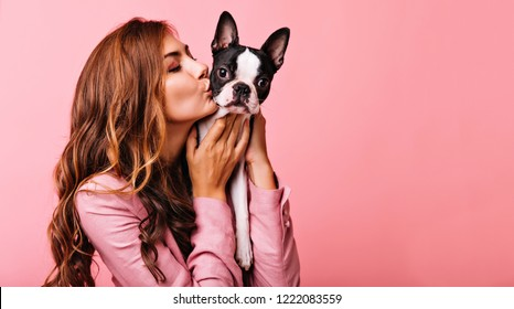 Lovely female model kissing funny bulldog puppy. Indoor portrait of refined dark-haired girl posing on pink background with dog.