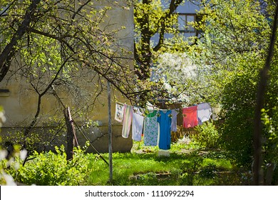 Lovely garden with clothes hanging on the rope