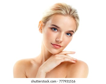 Lovely girl with beautiful makeup isolated on white background. Beauty & Skin care concept