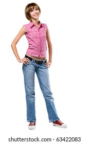 Lovely girl in casual style clothing, isolated on white background