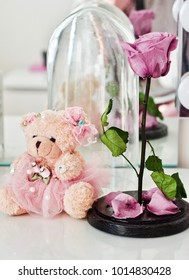 """Lovely girl gifts. A teddy bear and a rose from the cartoon """"Beauty and the Beast"""""""