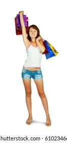 lovely girl with shopping bags over white