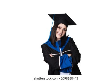 Lovely graduted college student looking at camera arms crossed on isolated white background