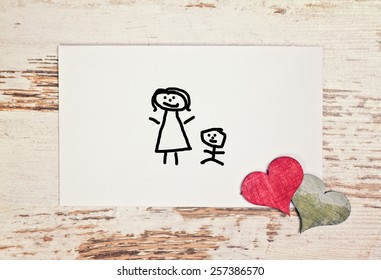 lovely greeting card - happy Mothers day with matchstick man