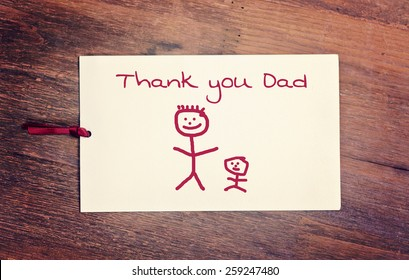 lovely greeting card - thank you dad - Matchstick man
