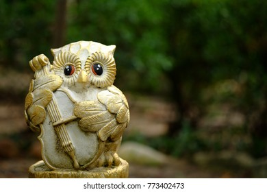 Lovely happy owl doll playing a music in park . Music concept.
