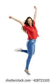 Lovely happy woman jumping of joy