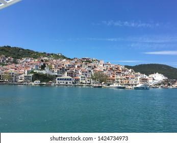 The lovely harbor at Skopelos island Greece. 30 April 2019