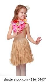 Lovely Hawaiian kid is dancing