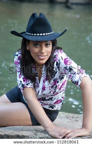 Lovely Hispanic Cowgirl Black Cowboy Hat Stock Photo (Edit Now ... 46e551258d3