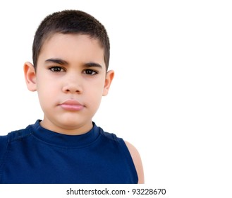 Lovely hispanic kid with a serious expression, isolated on white