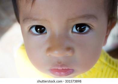 lovely little asian girl, children three year old eyes
