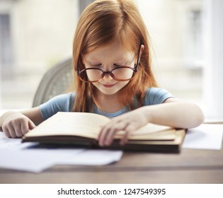 Lovely little girl reading a book.