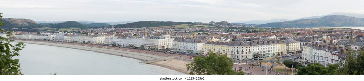 Lovely Llandudno town in North Wales. Lovely white houses near the sea.