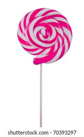 Lovely lollipop with pink and white stripes on white background