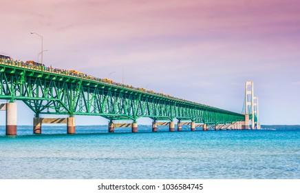 Lovely Mackinac Bridge, Mackinaw City on Labor Day walk