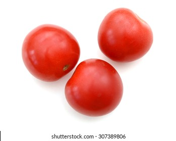 lovely mini tomatoes on white background