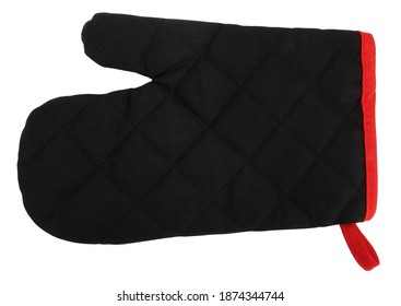 Lovely modern mitt oven glove black red classic isolated on white background