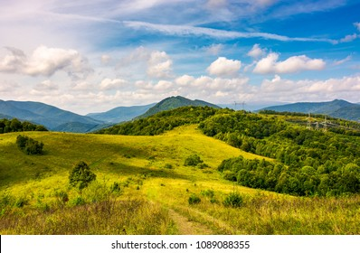 lovely mountainous countryside in autumn. forest on a grassy hillside under the beautiful cloudy sky. wonderful place for hike or a picnic in Carpathian mountains, Volovets district, Ukraine