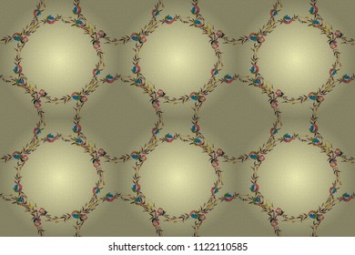 Lovely multicolored poppy flowers in yellow, blue and beige colors. Raster seamless pattern. Can be used for festive greeting card, textil print or fabric.