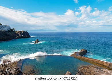 Lovely natural pool with crystal clear azure water at the Tenerife island