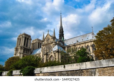 Lovely panoramic view of the famous Notre-Dame de Paris cathedral from a ship on the river Seine.