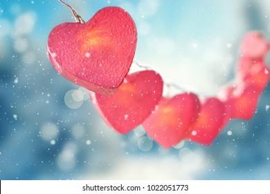 lovely pink hearts light string