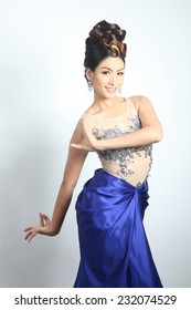 Lovely pretty with thai traditional dancing in modern clothes