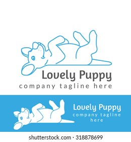 Lovely puppy contour logo illustration isolated on white background line thickness fully editable
