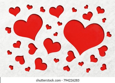 Lovely red heart shape background cuts out of an off white grain paper inspired a theme of LOVE for that special loved one.