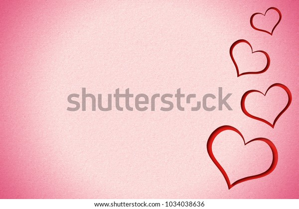Lovely red hearts on a gradient pink grain paper.
