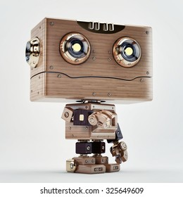 Lovely retro wooden robotic toy with stretched out hand