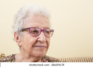lovely senior woman wearing eyeglasses