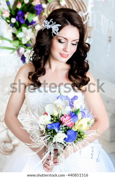 Lovely Shy Girl Wedding Dress Curly Stock Photo Edit Now 440851516
